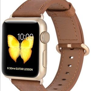 Accessories - Camel and Gold Leather Inspired Apple Watch Band